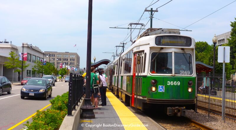The Green Line of Boston's subway - above-ground section on Commonwealth Avenue across from Boston University