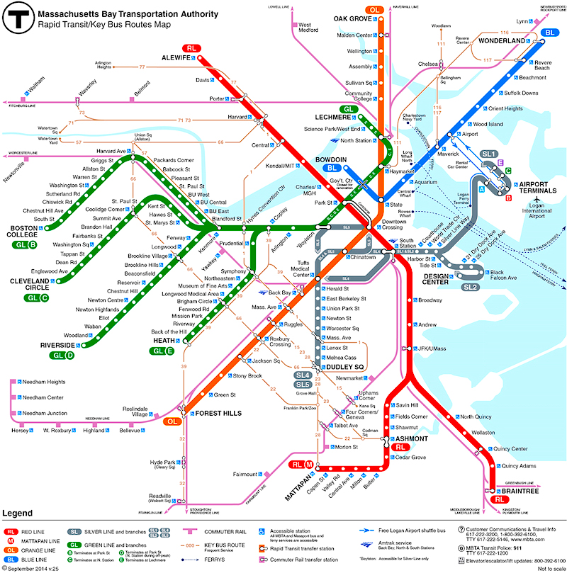 Printable Metro Map.Boston Subway The T Boston Public Transportation Boston