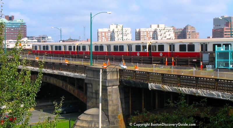 Boston's Subway: Red Line train crossing the Longfellow Bridge over the Charles River
