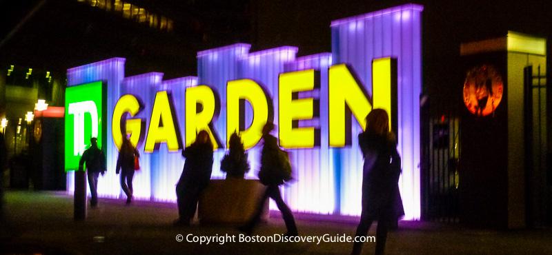 TD Garden sign at night
