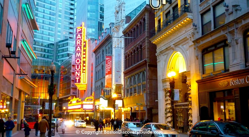 Bright lights on Washington Street in the heart of Boston's Theatre District
