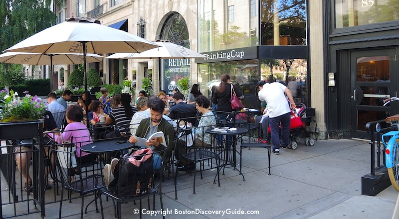 Thinking Cup's outdoor seating area on Boston's Newbury Street