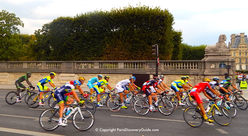 Tour de France competitors racing around the Tuileries Garden in Paris - Top July Event