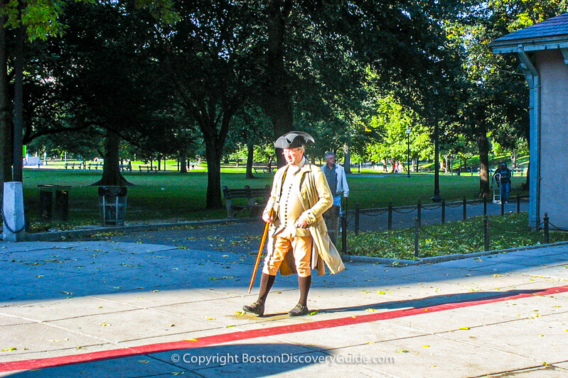 Freedom Trail tour guide on Boston Common near the Visitors Center