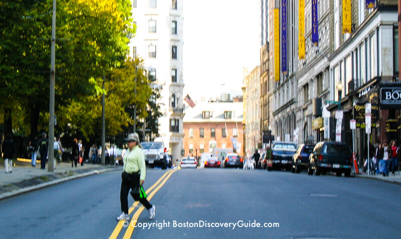 Jaywalking across Boylston Street next to Boston Common