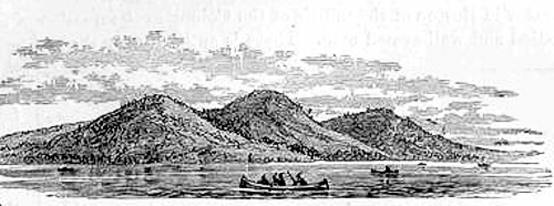 The three steep hills on the Shawmut peninsula seen by Captain John Smith and the Puritans - the site of Boston's present-day Beacon Hill neighborhood