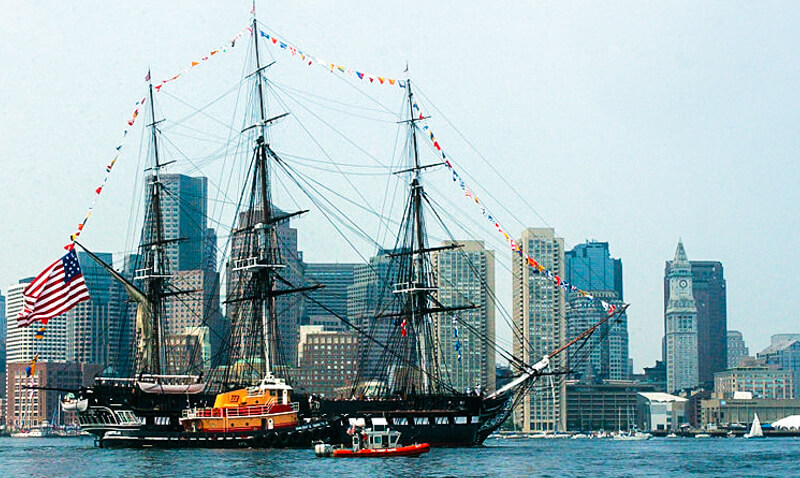 USS Constitution and the Boston skyline