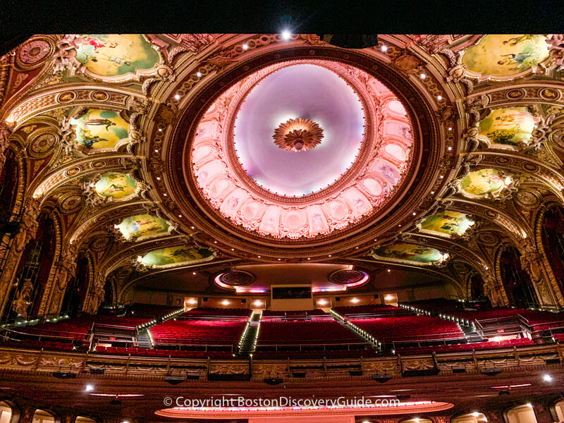 The domed ceiling in the Wang Theatre, restored to its original splendor