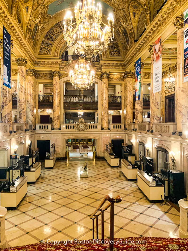The Wang Theatre's Grand Lobby, photographed from the top of the stairs