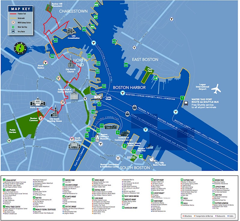 Boston Harbor Cruises Water taxi map