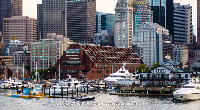 Boston's skyline, photographed from a boat in the Harbor