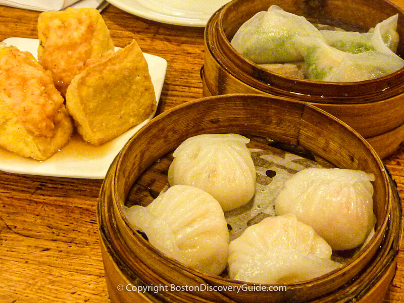 Dim sum dishes at Winsor Cafe, Boston MA