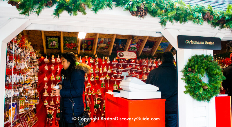 Inside a Boston Winter Holiday Market chalet