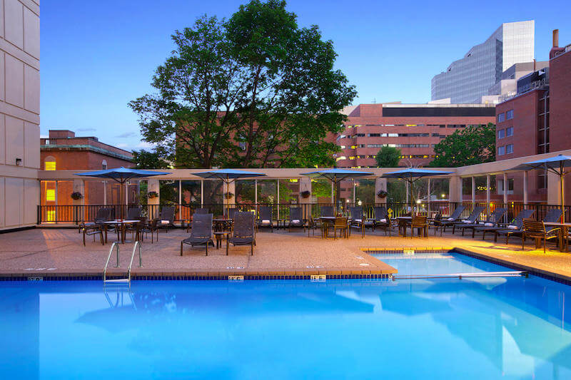 Rooftop swimming pool at the Wyndham Hotel in Boston's West End