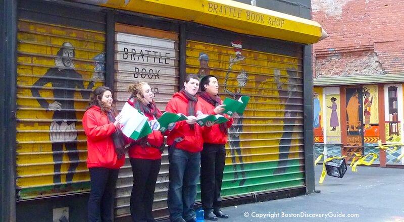 Christmas carolers in front of Brattle Book Store, Boston Massachusetts