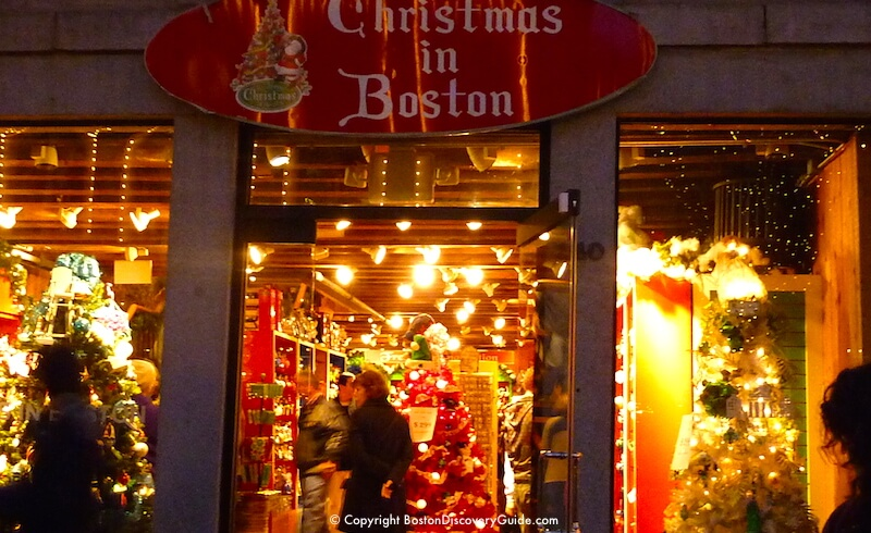 Shopping at Christmas in Boston in Faneuil Marketplace