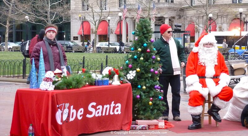 Globe Santa in Back Bay's Copley Square - Boston Christmas spirit in action