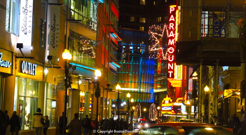 Boston's Theatre District with Holiday Lights