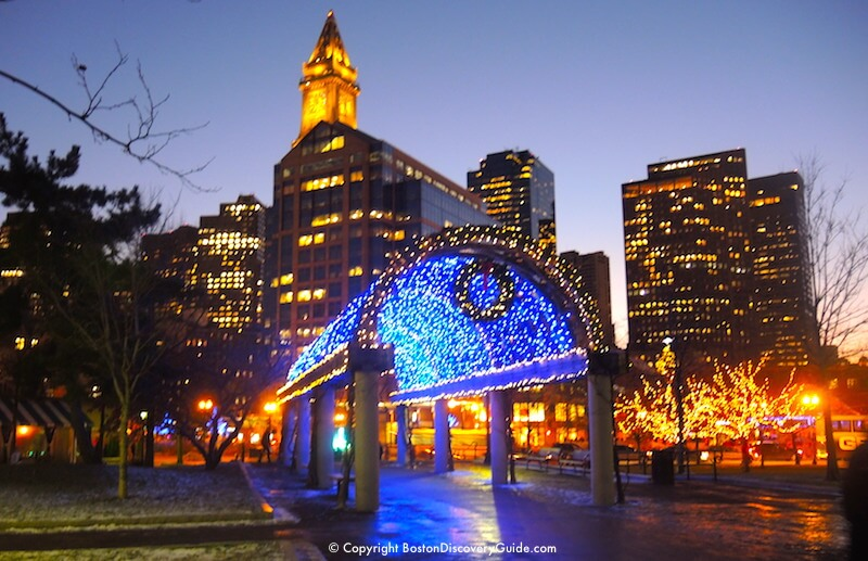 Christmas in Boston - Trellis with holiday lights is the gateway to Boston's North End