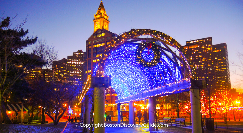Lighted trellis in Christopher Columbus Park in Boston's North End