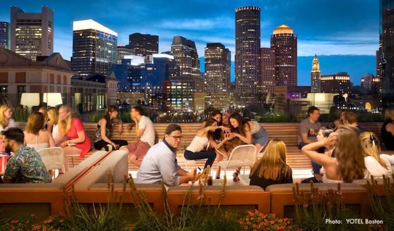 Roof terrace at YOTEL Boston