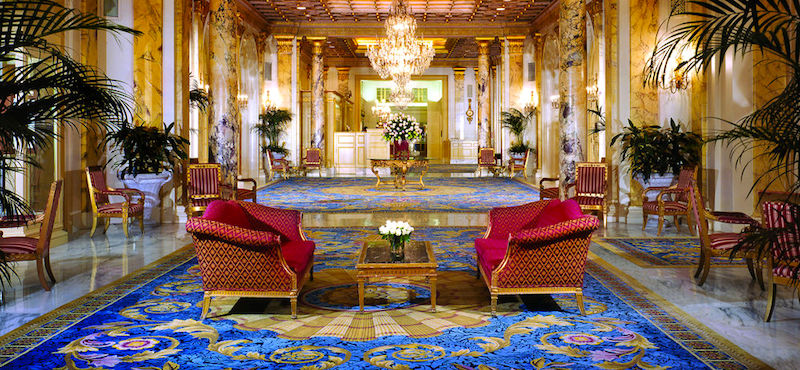 Lobby of Fairmont Copley Hotel in Boston