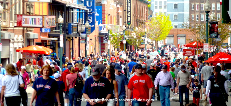Lansdowne Street, with Red Sox fans outside of Fenway Park