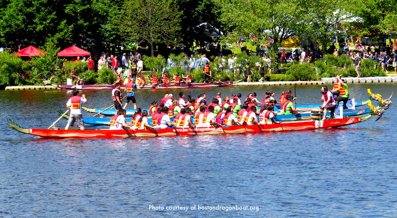 Dragon boat racing down the Charles River - photo courtesy of bostondragonboats.org