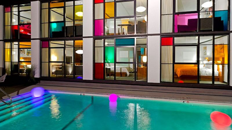 Outdoor swimming pool at Verb Hotel in Boston