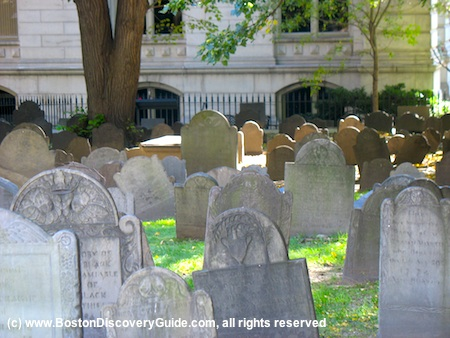Picture of 17th century gravestones, King's Chapel Burying Ground, Boston, Massachusetts