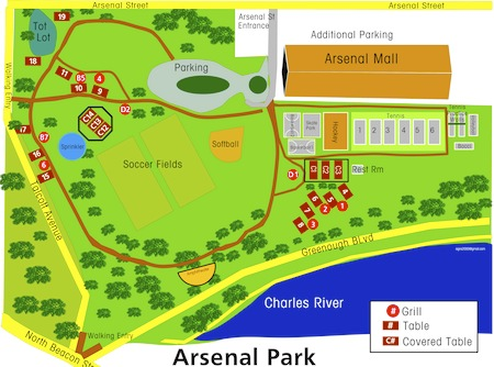 Map showing Arsenal Park where the skateboard park is located