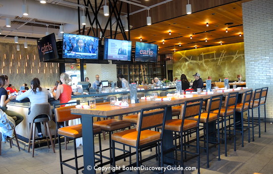 Bar and big screens at Earl's Kitchen in Assembly Row
