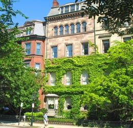 Back Bay brownstones on Commonwealth Avenue in Boston Massachusetts