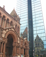 Back Bay Boston - Trinity Church reflected in John Hancock Tower