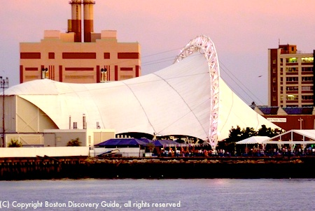 Bank of America Pavilion photographed at sunset from the Harbor