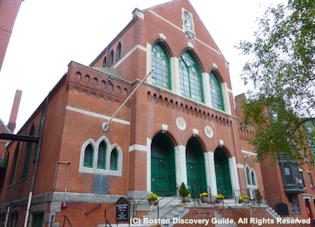 Photo of Our Lady of Victories Church in Boston's Bay Village neighborhood