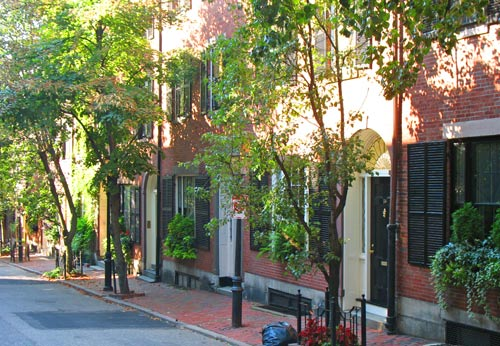 Quiet street in Boston's Beacon Hill - 19th century townhouses line shady streets