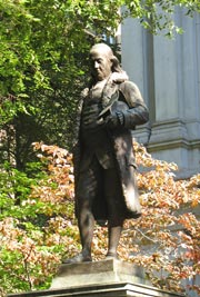 Benjamin Franklin Statue in front of Old City Hall on Boston's Freedom Trail