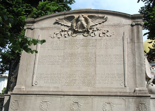 Photo of monument in Boston Common honoring first Black regiment to serve in Civil War and Robert Gould Shaw / Boston Common - www.boston-discovery-guide.com