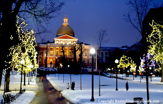 Lights on Boston Common near Massachusetts State House