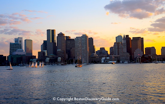 Boston Discovery Guide - Boston skyline photographed from Boston Harbor