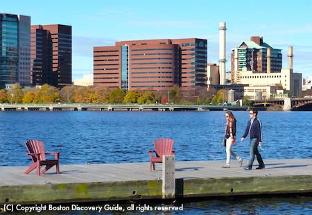 """Chairs beckon from the Esplanade """"beach"""" - actually, a dock over the Charles River"""