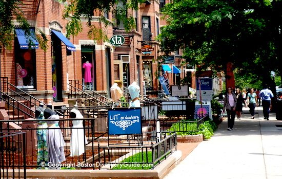 Boston event calendar June - Boutiques along Newbury Street on a beautiful June afternoon