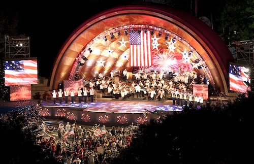 Keith Lockhart conducting the Boston Pops concert in the Hatch Shell on the Esplanade.    Copyright 2005 Garret A. Wollman, used with permission under the GNU Free Document License