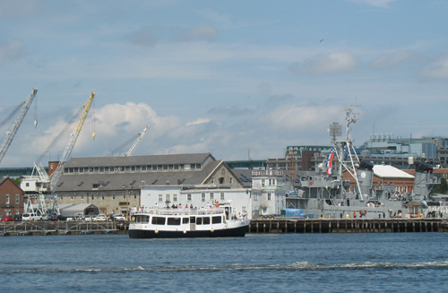 Boston Harbor cruise boat approaching Charlestown Navy Yard