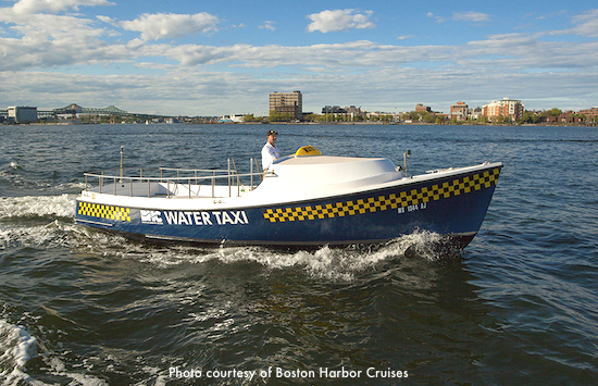 Boston water taxi heading toward Boston Logan Airport / Boston Water Taxi - www.boston-discovery-guide.com