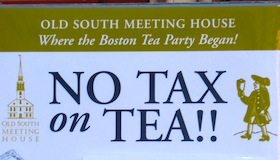 Taxation poster outside Old South Meeting House