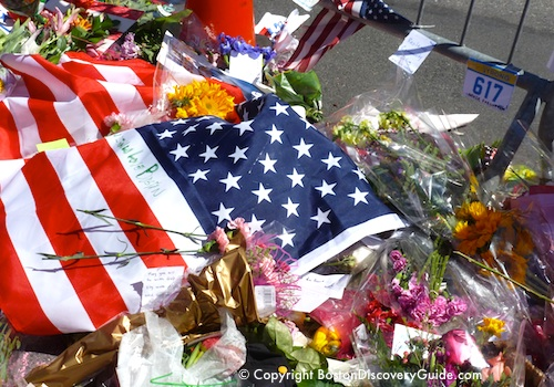 American flags - Boston Marathon bombing memorials