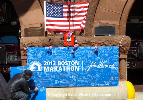 Photos of Boston Marathon street memorials