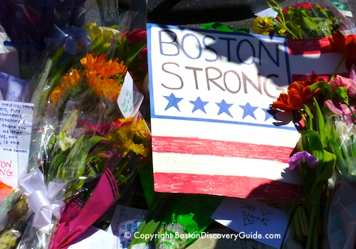 Boston Marathon bombing memorial - Boston Strong sign